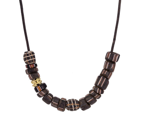 African Glass and Gold Bead Necklace - TWISTonline