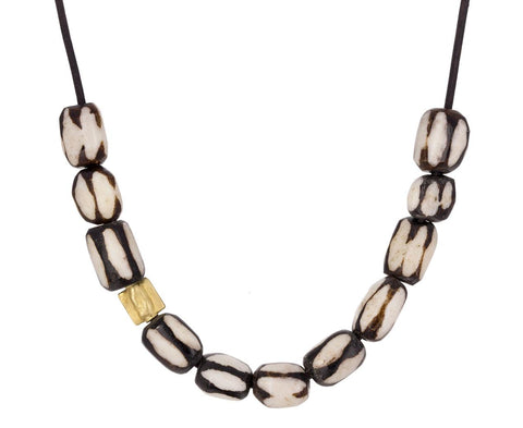 African Batik and Gold Bead Necklace - TWISTonline