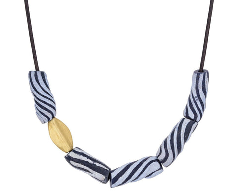 African Swirl Glass and Gold Bead Necklace - TWISTonline
