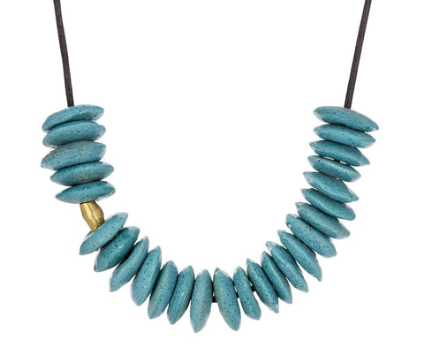Turquoise Glass Bead and Gold Bead Necklace - TWISTonline