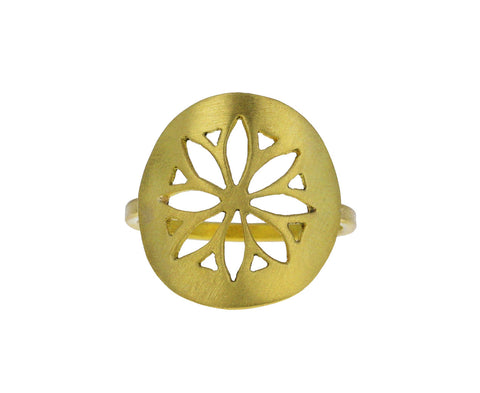Gold Flower Medallion Ring