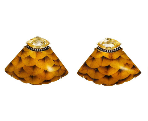 Marquetry Yellow Scale Earrings with Diamonds and Citrine - TWISTonline