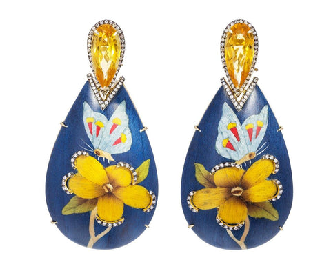 Marquetry Flower and Butterfly Earrings - TWISTonline