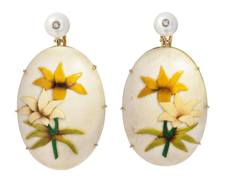 Marquetry White Lily Drop Earrings - TWISTonline