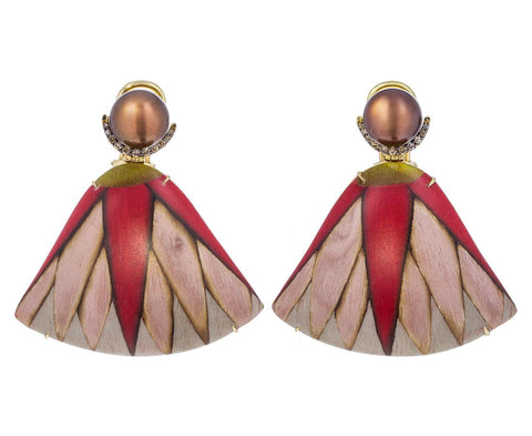 Brown Pearl Diamond Marquetry Fan Earrings - TWISTonline