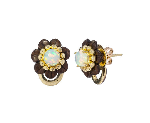 Opal and Marquetry Botanical Flower Earrings - TWISTonline