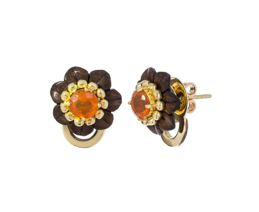 Fire Opal and Marquetry Botanical Flower Earrings - TWISTonline