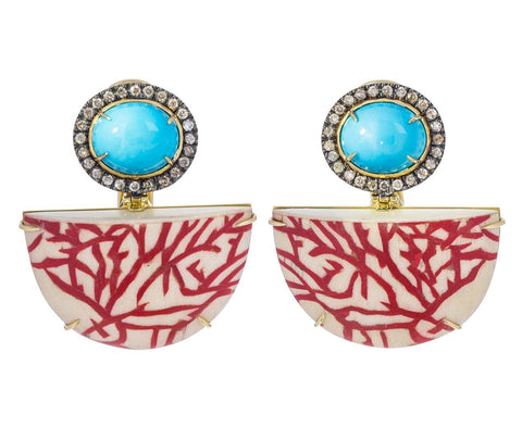 Turquoise Diamond Marquetry Coral Fan Earrings - TWISTonline