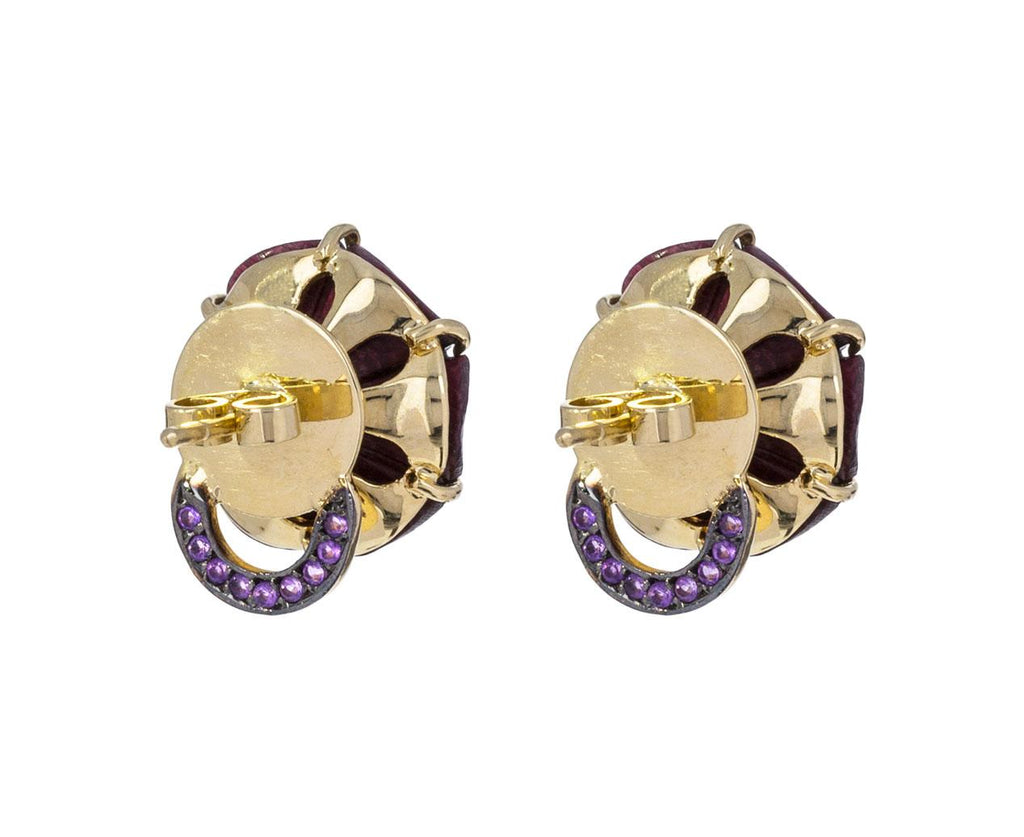 Amethyst and Burgundy Marquetry Botanical Flower Earrings - TWISTonline