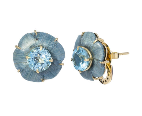 Blue Topaz and Marquetry Botanical Flower Earrings - TWISTonline