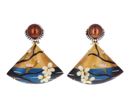 Brown Pearl and Diamond Marquetry Cherry Blossom Earrings