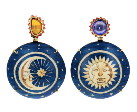 Opal and Tanzanite Sun and Moon Marquetry Earrings