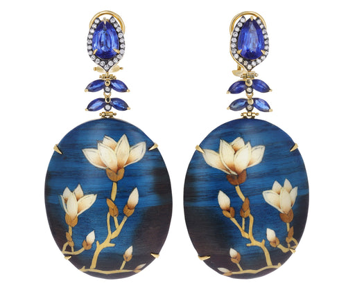 Kyanite, Sapphire and Diamond Marquetry Magnolia Earrings