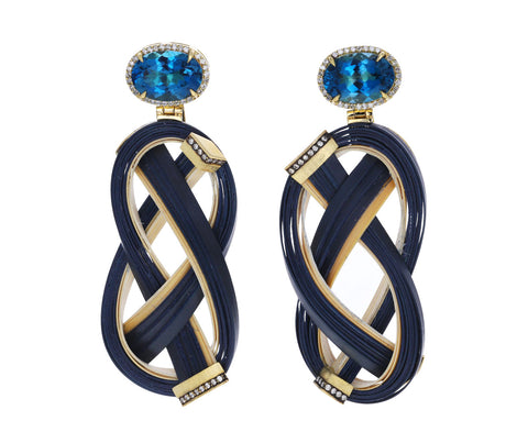 Blue Topaz Navy Bamboo Earrings