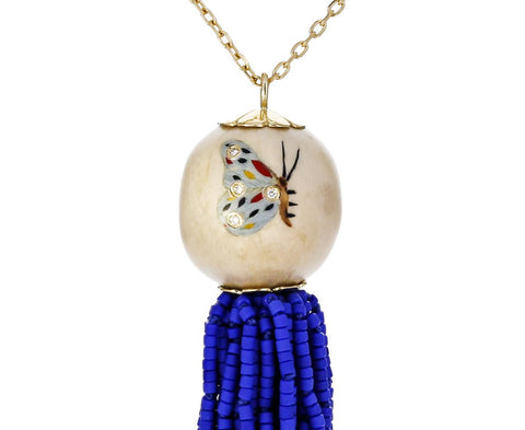 Marquetry Butterfly and Bead Tassel Pendant Necklace - TWISTonline