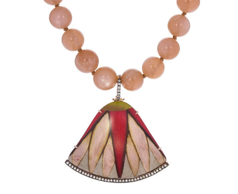 Red Fan Marquetry and Diamond Pendant Moonstone Bead Necklace - TWISTonline