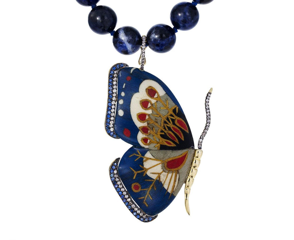 Marquetry Botanical Butterfly Blue Sapphire Necklace - TWISTonline