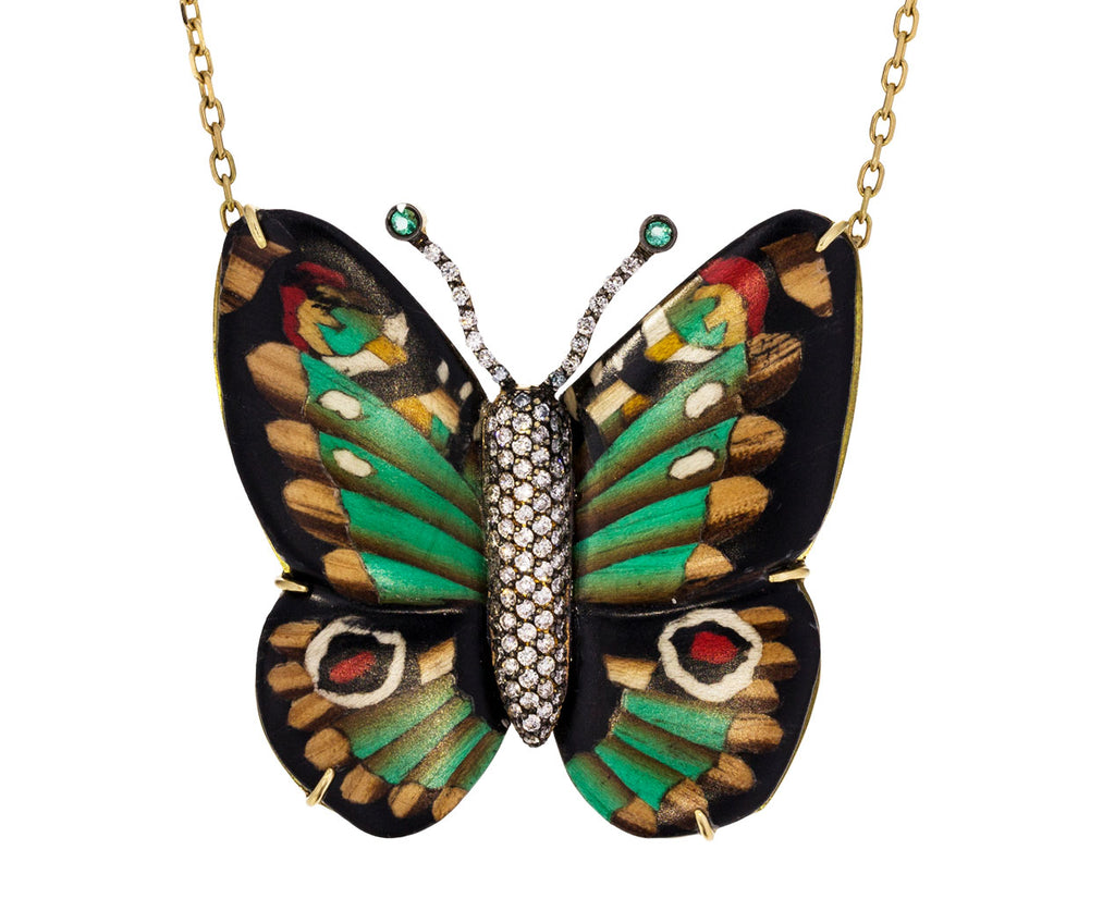 Marquetry Butterfly Pendant with Emeralds and Diamonds