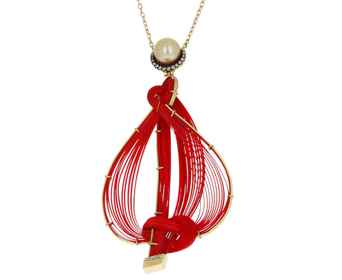 Red Bamboo and Pearl Pendant