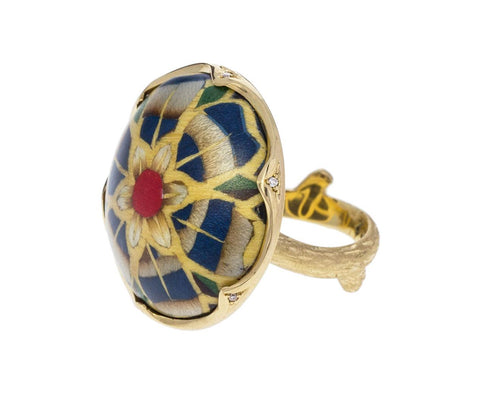Diamond and Marquetry Flower Ring - TWISTonline