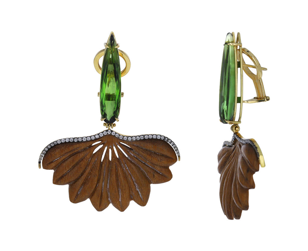 Tourmaline Botanical Marquetry Leaf Earrings