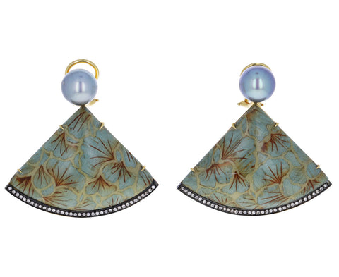 Pearl Ginkgo Marquetry Earrings