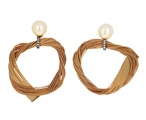 Pearl, Diamond and Braided Bamboo Circle Earrings