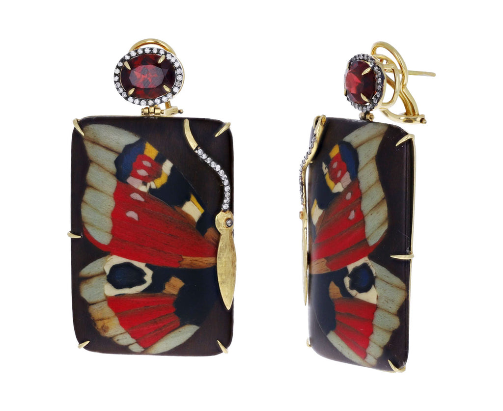 Red Butterfly Marquetry Earrings
