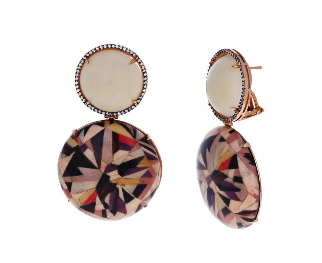 Marquetry and Jarina Seed Earrings