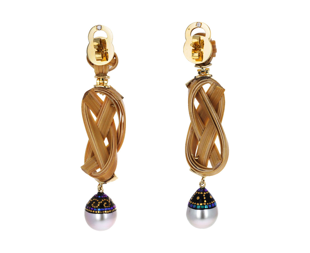 Pearl and Diamond Braided Bamboo Earrings