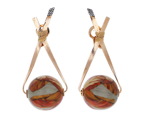 Bamboo Marquetry Ball Earrings