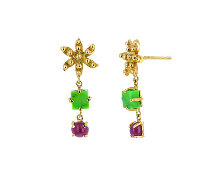 Green Turquoise and Pink Tourmaline Color for Life Earrings