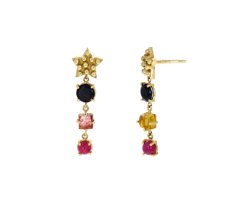 Black Diamond, Tourmaline and Ruby Color for Life Star Cascade Earrings