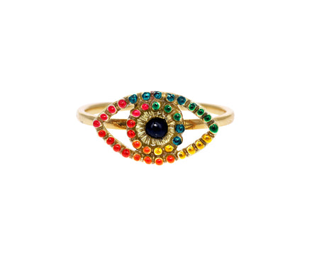 Large Lacquered Evil Eye Symbol of Life Ring