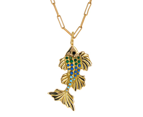 Large Lacquered Fish Symbol of Life Pendant ONLY