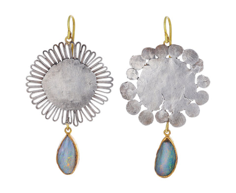 Silver Flat Flower and Opal Drop Earrings