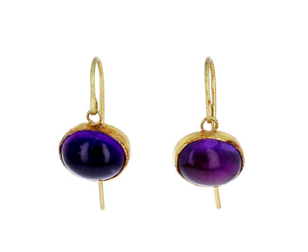 Cabochon Amethyst Drop Earrings - TWISTonline