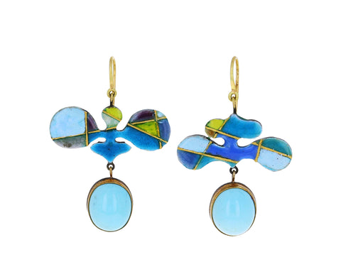 Amorphous Enamel Mosaic and Opal Earrings