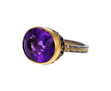 Oval Amethyst Basket Ring