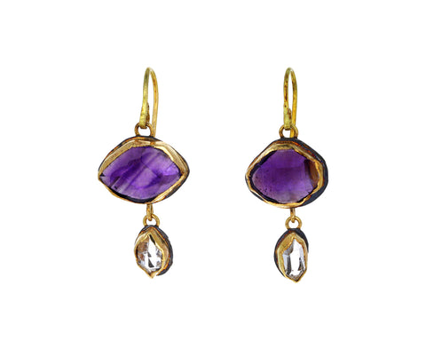 Amethyst and Herkimer Diamond Drop Earrings