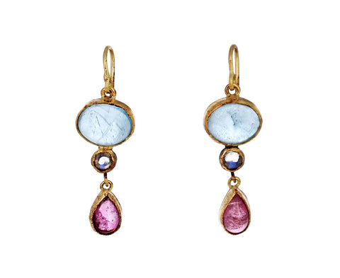 Aquamarine, Moonstone and Tourmaline Drop Earrings
