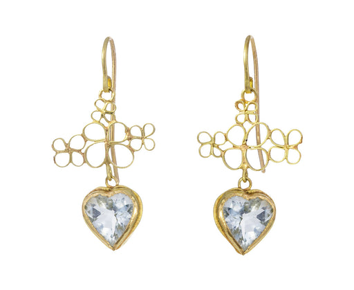 Aquamarine Heart Sweet Earrings