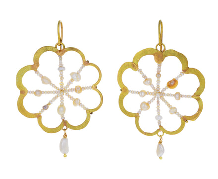 Basra Pearl Gold Flower Earrings