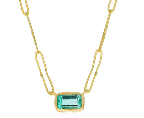 Judy Geib Lovely Rectangular Colombian Emerald Pendant Necklace