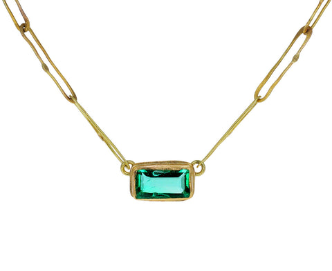Rectangular Colombian Emerald Echo Necklace