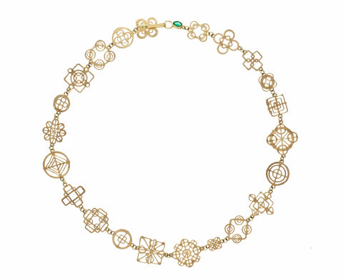 Gold Casino Royale Necklace with Emerald