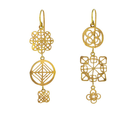 Gold Triple Wheel Earrings