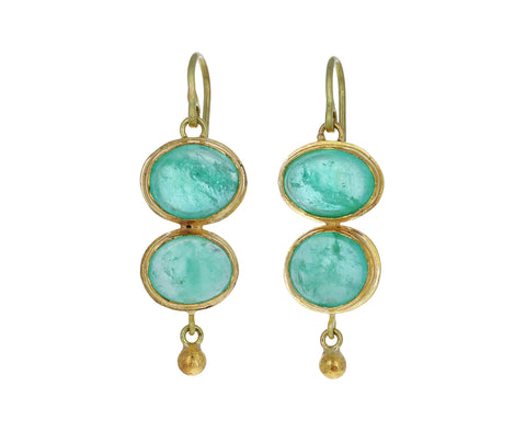 Lovely Bright Colombian Emerald Double Drop Earrings
