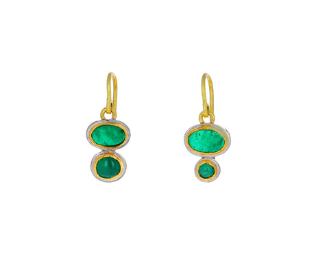 Judy Geib Dark Emerald Emerald Double Drop Earrings