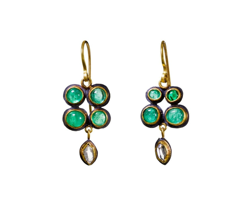 Colombian Emerald and Herkimer Diamond Earrings - TWISTonline